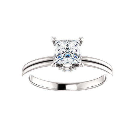 Giacobbe & Company 1 Carat Princess Cut Accented Four Prong Engagement Ring in 14K White Gold