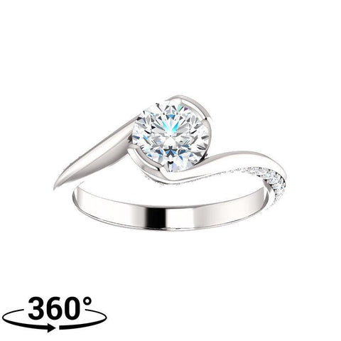 Giacobbe & Company 1 Carat Round Bypass-Style Engagement Ring in 14K White Gold