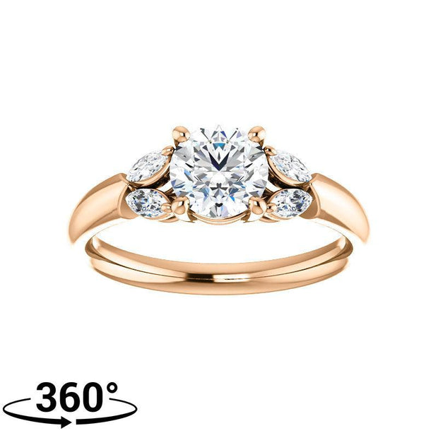 Giacobbe & Company 1 Carat Round Floral Bloom Engagement Ring in 14K Rose Gold