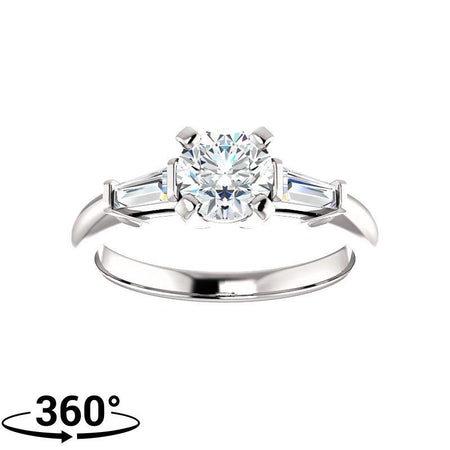 Giacobbe & Company 1 Carat Round & Tapered Baguette Engagement Ring in 14K White Gold
