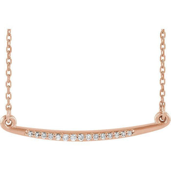 Giacobbe & Company 14k Rose Gold 14K White, Yellow, or Rose Gold .05 CTW Diamond Curved Bar Necklace