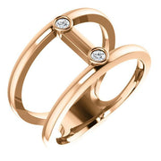 Giacobbe & Company 14k Rose Gold 14K White, Yellow, or Rose Gold .06 CTW Diamond Two-Stone Negative Space Ring