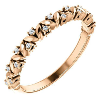 Giacobbe & Company 14k Rose Gold 14K White, Yellow, or Rose Gold .07 CTW Diamond Leaf Stackable Ring