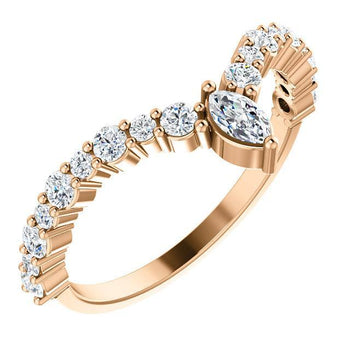 "Giacobbe & Company 14k Rose Gold 14K White, Yellow, or Rose Gold 1/2 CTW Diamond ""V"" Ring"