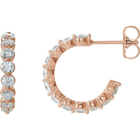 Giacobbe & Company 14k Rose Gold 14K White, Yellow, or Rose Gold 1 3/8 CTW Diamond J-Hoop Earrings