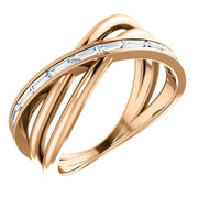 Giacobbe & Company 14k Rose Gold 14K White, Yellow, or Rose Gold 1/3 CTW Diamond Criss-Cross Ring