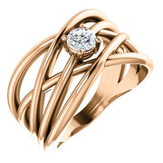Giacobbe & Company 14k Rose Gold 14K White, Yellow, or Rose Gold 1/4 CTW Diamond Solitaire Criss-Cross Ring