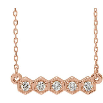 Giacobbe & Company 14k Rose Gold 14K White, Yellow, or Rose Gold 1/5 CTW Diamond Bar Necklace