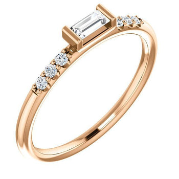 Giacobbe & Company 14k Rose Gold 14K White, Yellow, or Rose Gold 1/5 CTW Diamond Stackable Accented Ring