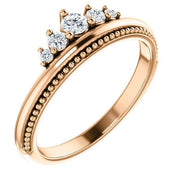 Giacobbe & Company 14k Rose Gold 14K White, Yellow, or Rose Gold 1/5 CTW Diamond Stackable Crown Ring