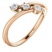 Giacobbe & Company 14k Rose Gold 14K White, Yellow, or Rose Gold 1/5 CTW Diamond Three-Stone Bypass Ring