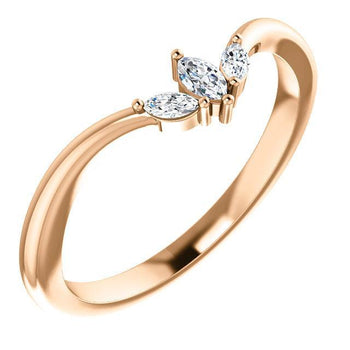 "Giacobbe & Company 14k Rose Gold 14K White, Yellow, or Rose Gold 1/8 CTW Diamond ""V"" Ring"