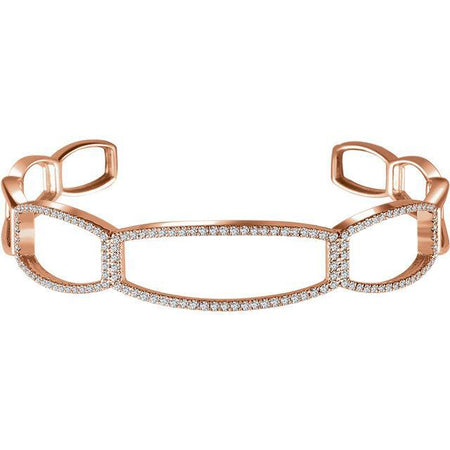 "Giacobbe & Company 14k Rose Gold 14K White, Yellow, or Rose Gold 3/4 CTW Diamond Cuff 6 1/4"" Bracelet"