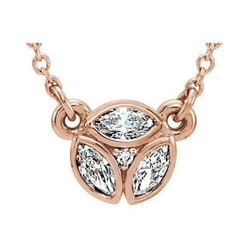 "Giacobbe & Company 14k Rose Gold 14K White, Yellow, or Rose Gold 3-Stone Marquise Diamond 16-18"" Necklace"