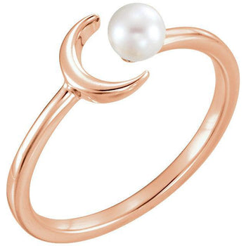 Giacobbe & Company 14k Rose Gold 14K White, Yellow, or Rose Gold 4mm White Freshwater Pearl Crescent Ring