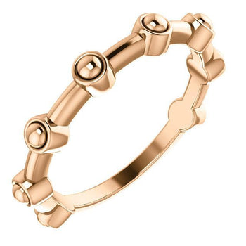 Giacobbe & Company 14k Rose Gold 14K White, Yellow, or Rose Gold Beaded Bar Ring