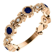 Giacobbe & Company 14k Rose Gold 14K White, Yellow, or Rose Gold Blue Sapphire & .03 CTW Diamond Leaf Ring