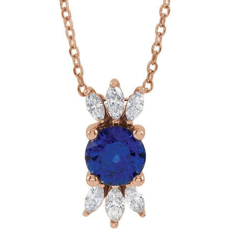 "Giacobbe & Company 14k Rose Gold 14K White, Yellow, or Rose Gold Blue Sapphire & 1/4 CTW Diamond 16""-18"" Necklace"