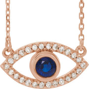 "Giacobbe & Company 14k Rose Gold 14K White, Yellow, or Rose Gold Blue Sapphire & White Sapphire Evil Eye 16"" Necklace"