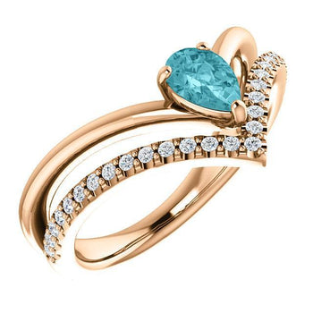 Giacobbe & Company 14k Rose Gold 14K White, Yellow, or Rose Gold Blue Zircon & 1/6 CTW Diamond Ring