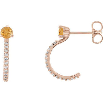 Giacobbe & Company 14k Rose Gold 14K White, Yellow, or Rose Gold Citrine & 1/6 CTW Diamond J-Hoop Earrings
