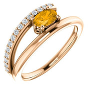 Giacobbe & Company 14k Rose Gold 14K White, Yellow, or Rose Gold Citrine & 1/8 CTW Diamond Ring