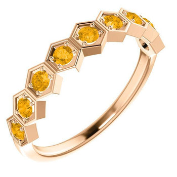 Giacobbe & Company 14k Rose Gold 14K White, Yellow, or Rose Gold Citrine Stackable Ring