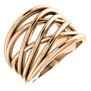 Giacobbe & Company 14k Rose Gold 14K White, Yellow, or Rose Gold Criss-Cross Ring