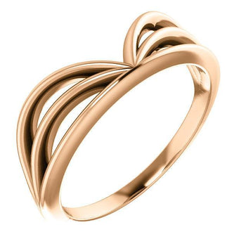 "Giacobbe & Company 14k Rose Gold 14K White, Yellow, or Rose Gold Crown ""V"" Ring"