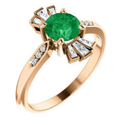 Giacobbe & Company 14k Rose Gold 14K White, Yellow, or Rose Gold Emerald & 1/6 CTW Diamond Ring