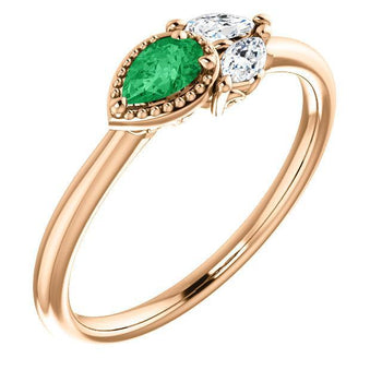 Giacobbe & Company 14k Rose Gold 14K White, Yellow, or Rose Gold Emerald & 1/8 CTW Diamond Ring