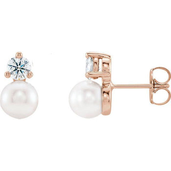 Giacobbe & Company 14k Rose Gold 14K White, Yellow, or Rose Gold Freshwater Cultured Pearl & 1/2 CTW Diamond Earrings