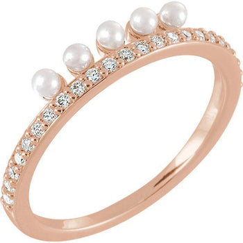 Giacobbe & Company 14k Rose Gold 14K White, Yellow, or Rose Gold Freshwater Cultured Pearl & 1/5 CTW Diamond Stackable Ring