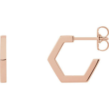 Giacobbe & Company 14k Rose Gold 14K White, Yellow, or Rose Gold Geometric Hoop Earrings