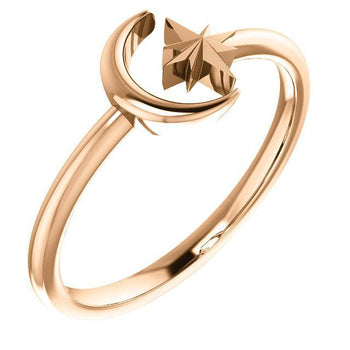 Giacobbe & Company 14k Rose Gold 14K White, Yellow, or Rose Gold Moon & Star Negative Space Ring