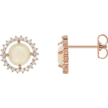Giacobbe & Company 14k Rose Gold 14K White, Yellow, or Rose Gold Opal & 1/8 CTW Diamond Halo Earrings