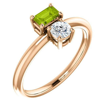 Giacobbe & Company 14k Rose Gold 14K White, Yellow, or Rose Gold Peridot & Sapphire Two-Stone Ring