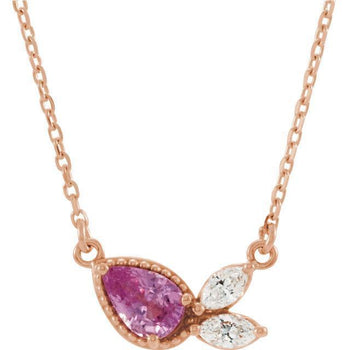 "Giacobbe & Company 14k Rose Gold 14K White, Yellow, or Rose Gold Pink Sapphire & 1/6 CTW Diamond 16"" Necklace"