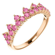 Giacobbe & Company 14k Rose Gold 14K White, Yellow, or Rose Gold Pink Sapphire Crown Ring