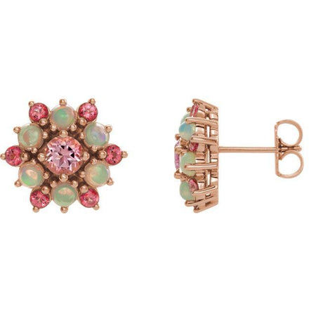Giacobbe & Company 14k Rose Gold 14K White, Yellow, or Rose Gold Pink Topaz & Ethiopian Cabochon Earrings