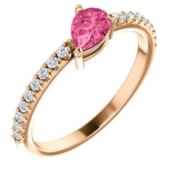 Giacobbe & Company 14k Rose Gold 14K White, Yellow, or Rose Gold Pink Tourmaline & 1/6 CTW Diamond Ring