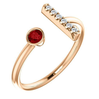 Giacobbe & Company 14k Rose Gold 14K White, Yellow, or Rose Gold Ruby & .05 CTW Diamond Bar Ring