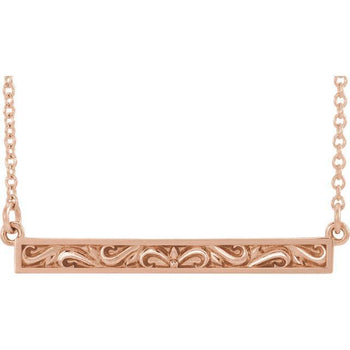 "Giacobbe & Company 14k Rose Gold 14K White, Yellow, or Rose Gold Sculptural-Inspired Bar 16-18"" Necklace"