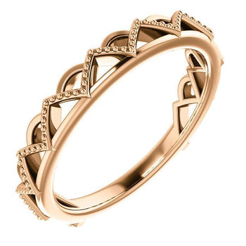 Giacobbe & Company 14k Rose Gold 14K White, Yellow, or Rose Gold Stackable Crown Ring