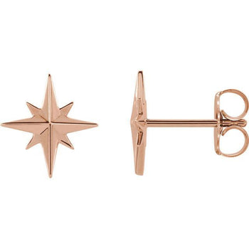 Giacobbe & Company 14k Rose Gold 14K White, Yellow, or Rose Gold Star Earrings