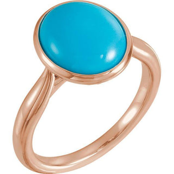 Giacobbe & Company 14k Rose Gold 14K White, Yellow, or Rose Gold Turquoise Solitaire Bezel Set Ring