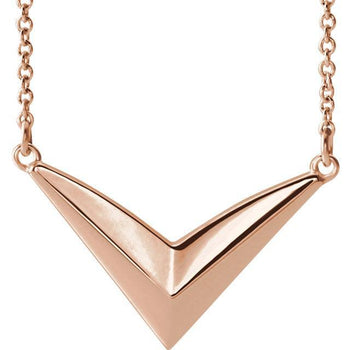 "Giacobbe & Company 14k Rose Gold 14K White, Yellow, or Rose Gold ""V"" Necklace 16""-18"" Necklace"
