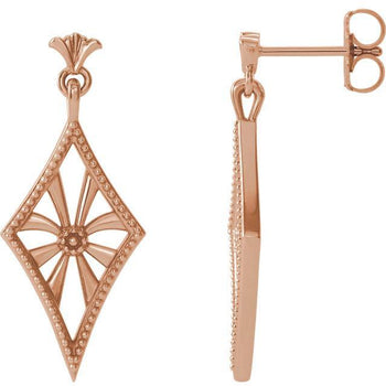 Giacobbe & Company 14k Rose Gold 14K White, Yellow, or Rose Gold Vintage-Inspired Dangle Earrings