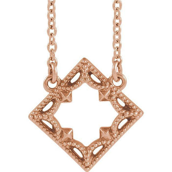 "Giacobbe & Company 14k Rose Gold 14K White, Yellow, or Rose Gold Vintage-Inspired Geometric 16"" Necklace"