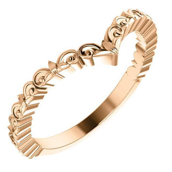 "Giacobbe & Company 14k Rose Gold 14K White, Yellow, or Rose Gold Vintage-Inspired ""V"" Ring"